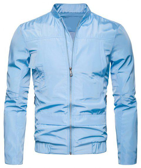 Men'S Wear Solid Color Jacket Leisure Time Repair The Body Coat - LIGHT BLUE 3XL