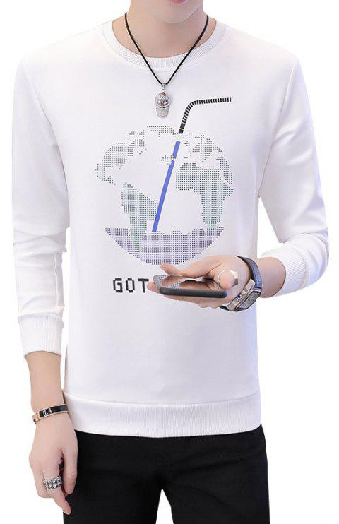 Men'S Round Neck Fashion Personality Long Sleeved Printed Sweater - WHITE XL