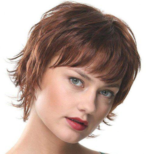 Handsome Fluffy Small Curl Short Wig - BROWN