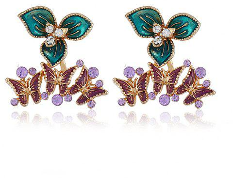 Personality Simple Flower Butterfly Stud Earrings - multicolor A