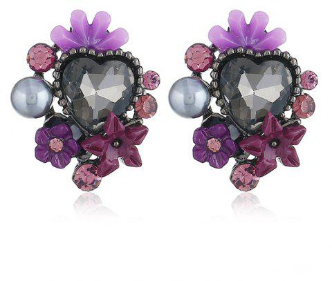 Cute Crystal Five-Leaf Flower Earrings - JASMINE PURPLE