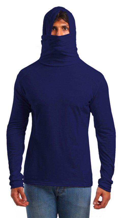 Men's Trend Solid Color Simple Hooded Turtleneck Slim Long Sleeve T-shirt - DEEP BLUE M