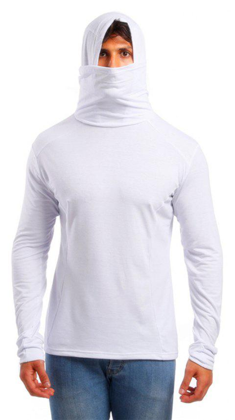 Men's Trend Solid Color Simple Hooded Turtleneck Slim Long Sleeve T-shirt - WHITE L