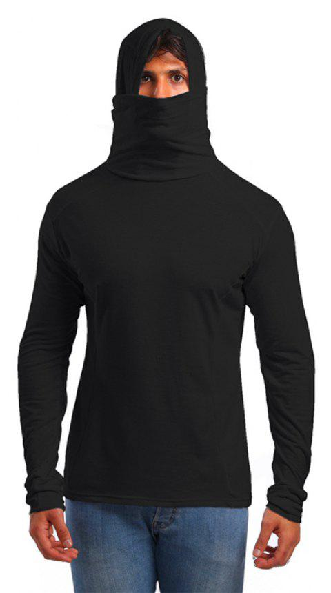 Men's Trend Solid Color Simple Hooded Turtleneck Slim Long Sleeve T-shirt - BLACK L