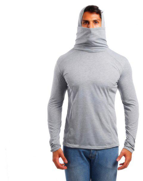 Men's Trend Solid Color Simple Hooded Turtleneck Slim Long Sleeve T-shirt - LIGHT GRAY 2XL