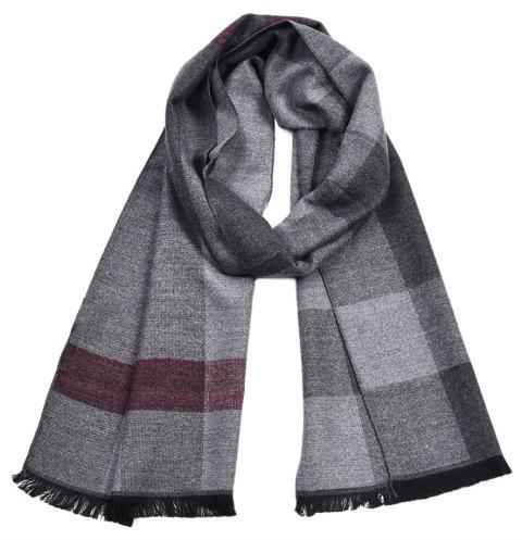 Men Plaid Winter Warm Scarf Thick Shawl - multicolor B