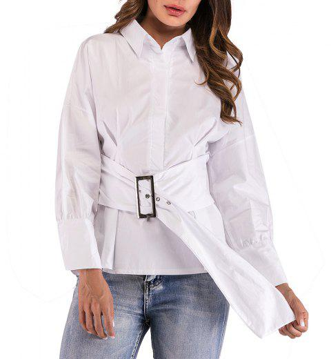 Women's Simple Collar Waist Loose Lantern Sleeve Casual Shirt - WHITE S