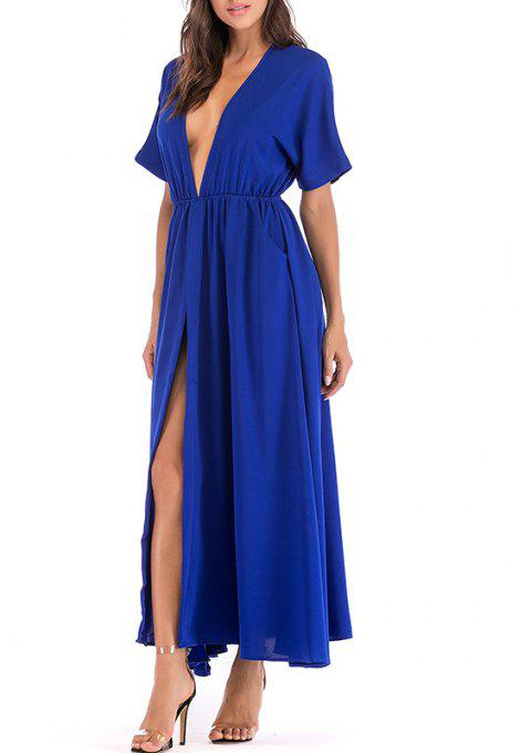 Women's Temperament Bat Sleeves Large Swing Open Long Slim Dress - BLUE L