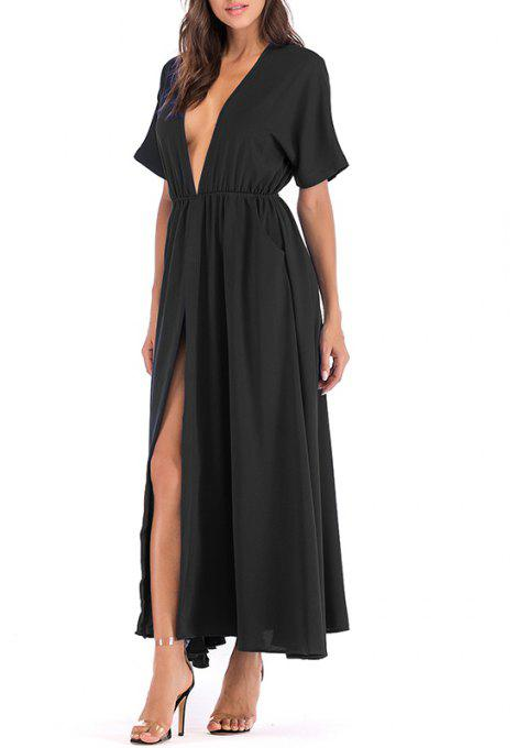 Women's Temperament Bat Sleeves Large Swing Open Long Slim Dress - BLACK L