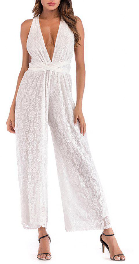 Bohemian Sexy Deep V Open Back Hanging Neck Wide Leg Women's Jumpsuit - WHITE M