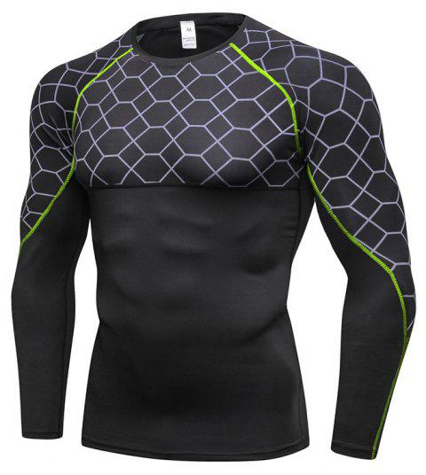 Men's Fitness Printing Sports Running Training Quick-drying Tight T-Shirt - GREEN XL