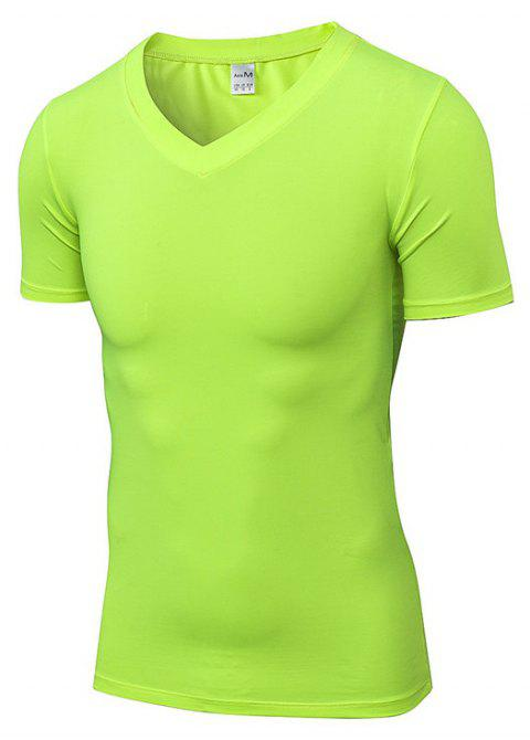 Men's V-neck PRO Fitness Running Quick-drying T-Shirt - GREEN S