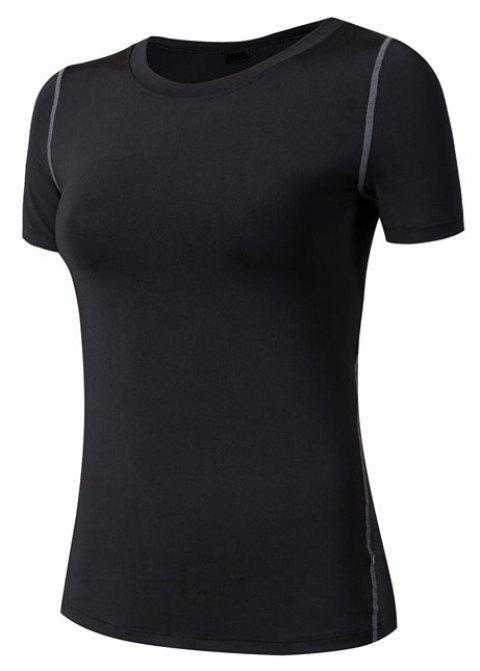 Women's PRO Sports Fitness Yoga Quick-Drying Short Sleeve T-Shirt - BLACK S