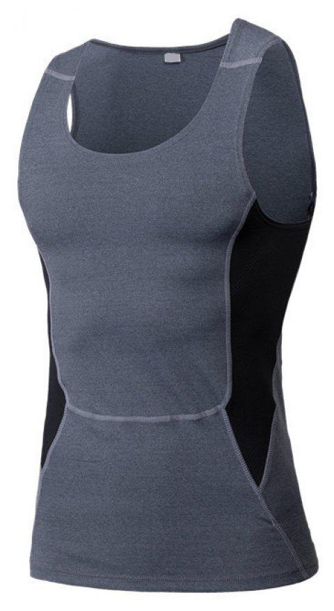 Men's Sports Fitness Stretch Wicking Quick-Drying Vest - GRAY M
