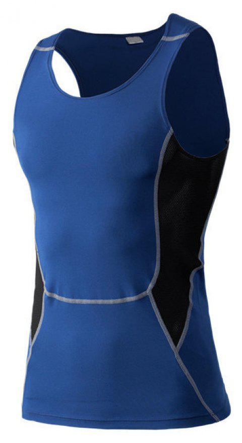 Men's Sports Fitness Stretch Wicking Quick-Drying Vest - BLUE L
