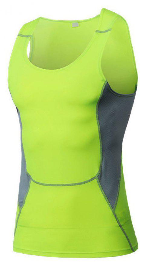 Men's Sports Fitness Stretch Wicking Quick-Drying Vest - GREEN M