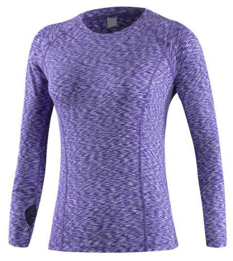 Women's Sports Fitness Running Quick-drying Long-Sleeved Shirt Stretch T-Shirt - PURPLE S