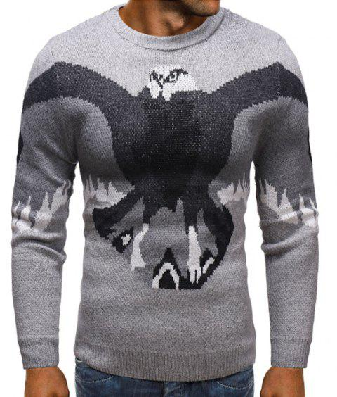 f8790e46a 2019 Men s Round Neck Eagle s Knitted Sweater In PLATINUM XL ...