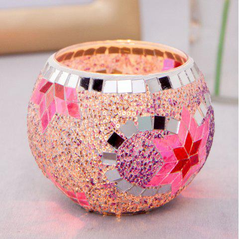 Glass Cup Candle Holder KTV Bar Birthday Party Decoration - HOT PINK M