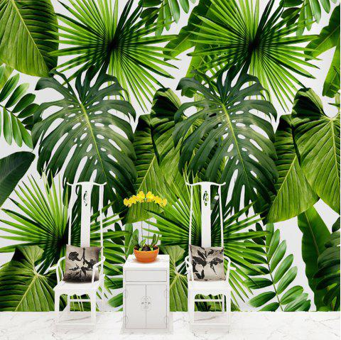 Green Big Leaves Wallpaper Wall Sticker Mural - multicolor S