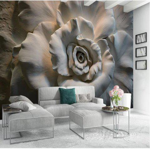 Mud Sculpture Flower Wallpaper Wall Sticker Mural - multicolor S