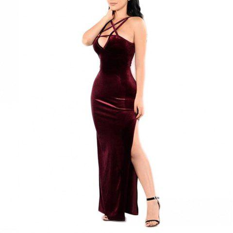 Women's Deep V-neck Solid Color Bandage Backless Side Split Sexy Dress - RED WINE 3XL