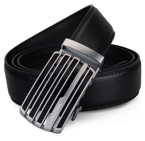 COWATHER Leather Automatic Buckle Casual Business Fashion Belt - BLACK 130CM