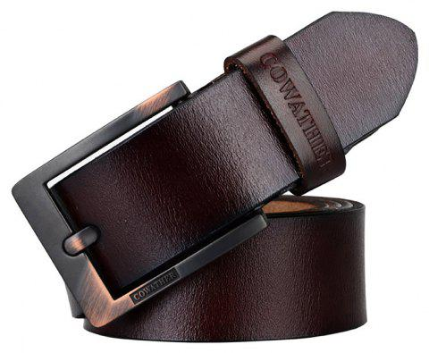 COWATHER Men's Leather Business Casual Fashion Joker Pin Buckle Belt - DEEP COFFEE 110CM