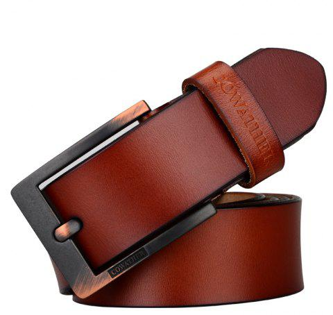 COWATHER Men's Leather Business Casual Fashion Joker Pin Buckle Belt - BROWN 125CM