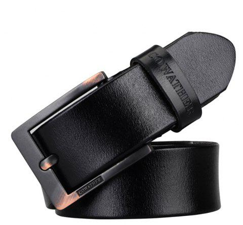 COWATHER Men's Leather Business Casual Fashion Joker Pin Buckle Belt - BLACK 125CM