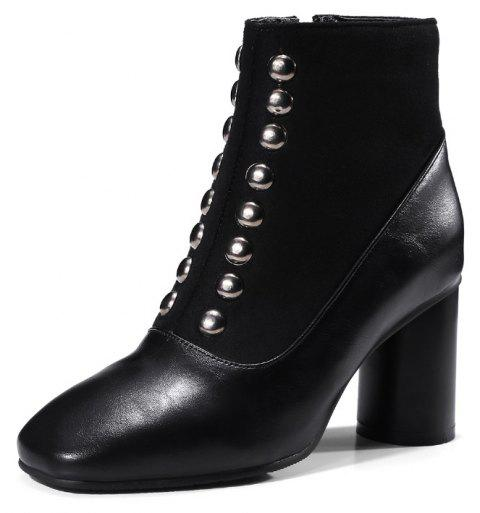 High Heel Square Rivet Stitching Zipper Short Boots - BLACK EU 40