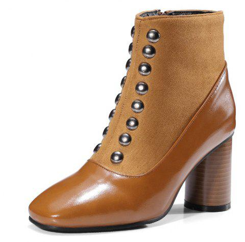 High Heel Square Rivet Stitching Zipper Short Boots - LIGHT BROWN EU 41