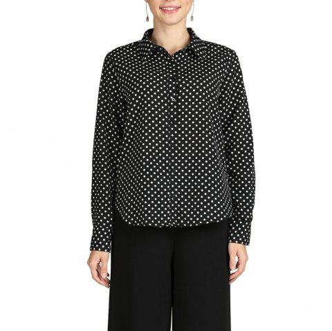 8d83f3950b SBETRO Turn Down Collar Polka Dot Long Sleeve Dressy Casual Woven Top -  BLACK 2XL