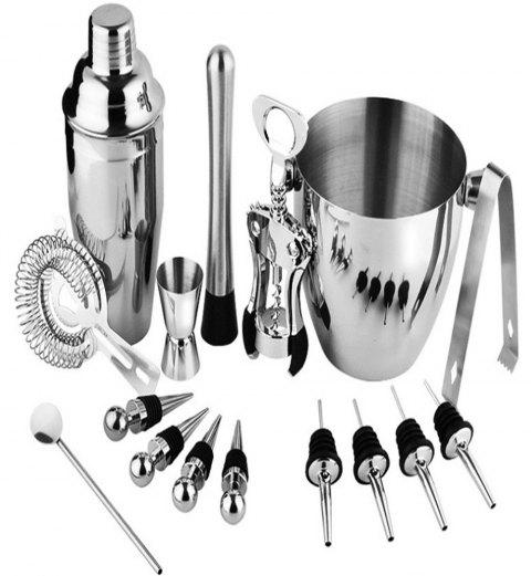 16PCS Shaker Bar Tools Stainless Steel Cocktail Wine Set with Ice Bucket - SILVER