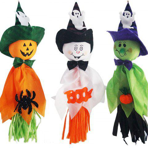 3PCS Halloween Decoration Hanging Ghost Cute Cartoon Ghosts String Doll - multicolor 35CM*16CM