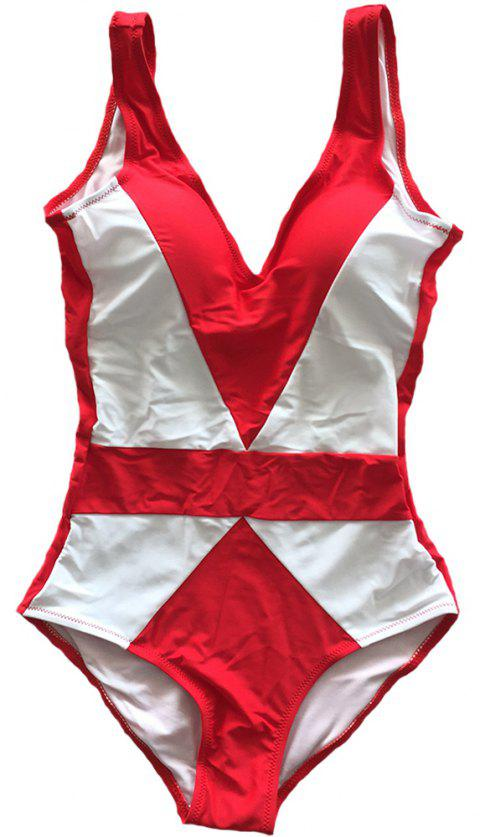 SleeWlM Printing One-Piece Swimsuit Parent-Child Outfit Two-Tone Joint Mom - RED L
