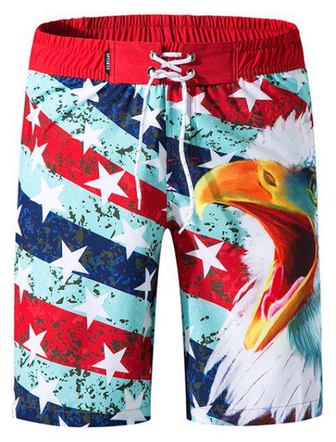 Men Elastic Fabric Digital Printing Beach Surf Pants Quick-Drying Shorts - RED M