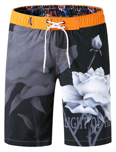 Tailor Pal Love Men Loose Elastic Fabric Digital Printing Beach Shorts - ORANGE 2XL