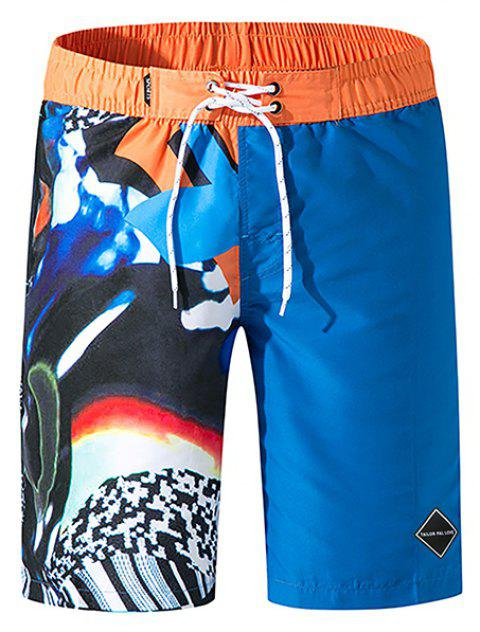 Tailor Pal Love Male Digital Printing Quick-Drying Leisure Beach Pants - BLUE XL