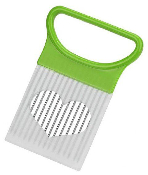 YEDUO Tomato Onion Vegetables Slicer Cutting Aid Holder Guide Fork - GREEN APPLE