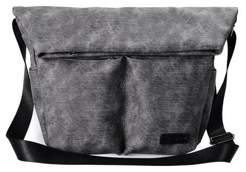 Foldover Messenger Bag For Men Outdoor Leisure Trend Crossbody Tote Hide Zipper - CARBON GRAY