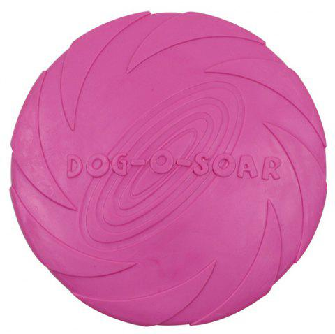 Training Dog Supplies Bite-Resistant Floating Water TPR Rubber Frisbee Toy - ROSE RED L