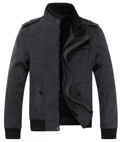 Hommes Casual Jacket Pockets Stand Collar Vêtements de mode - Gris 3XL