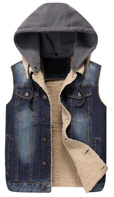 Men Waist  Denim Sleeveless Fashion Denim Coat - DEEP BLUE XL