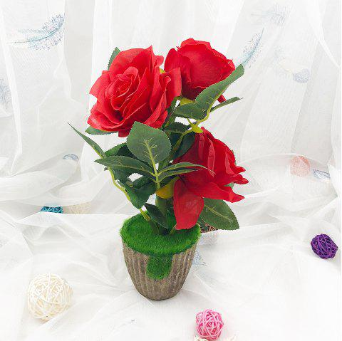 Western Style Rose Home Decoration Artificial Peony Flowers Potted Plant - ROSE RED