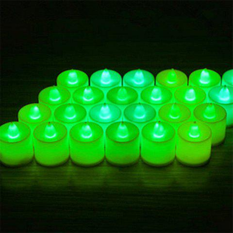 24PCS  Simulation Led Electronic Candle Birthday Courtship Wedding Candle Light - GREEN GREEN LIGHT