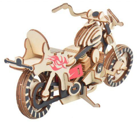 Wooden Motorcycle Solid Puzzle Toy - multicolor