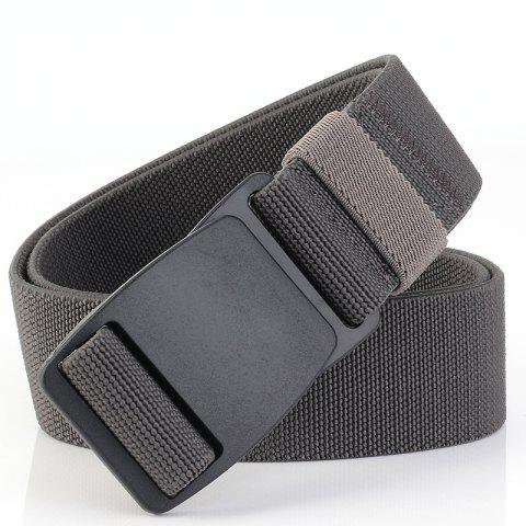 ENNIU Buckle Security Check Thick Canvas Elastic Stretch Casual Men's Belt - DARK GRAY