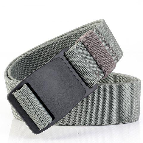 ENNIU Buckle Security Check Thick Canvas Elastic Stretch Casual Men's Belt - LIGHT GRAY