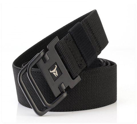 ENNIU Men's Double Ring Buckle Nylon Elastic Stretch Durable Canvas Casual Belt - BLACK